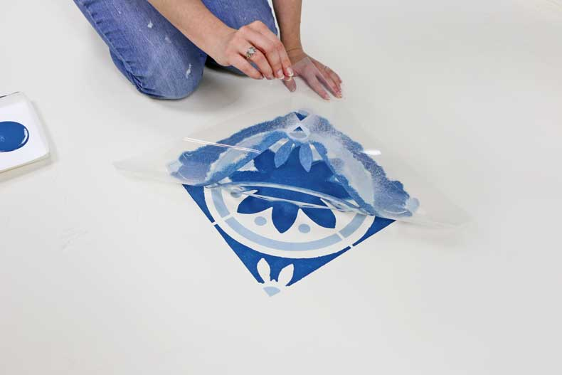simple stenciled tile floor peel