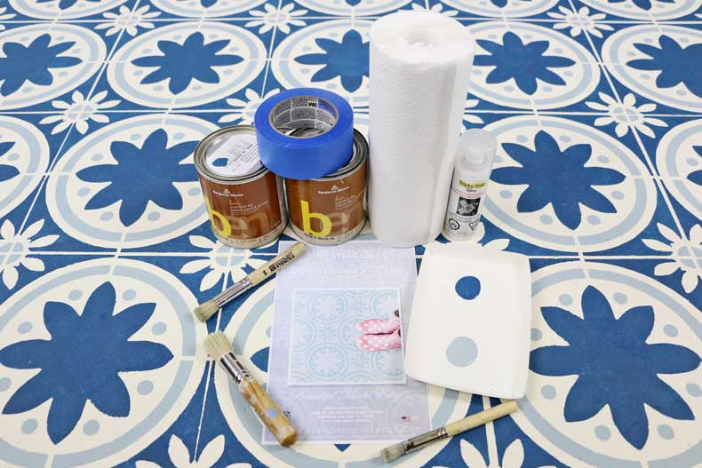 simple stenciled tile floor products