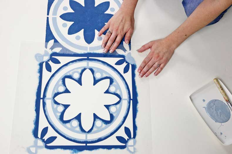 simple stenciled tile floor align stencil