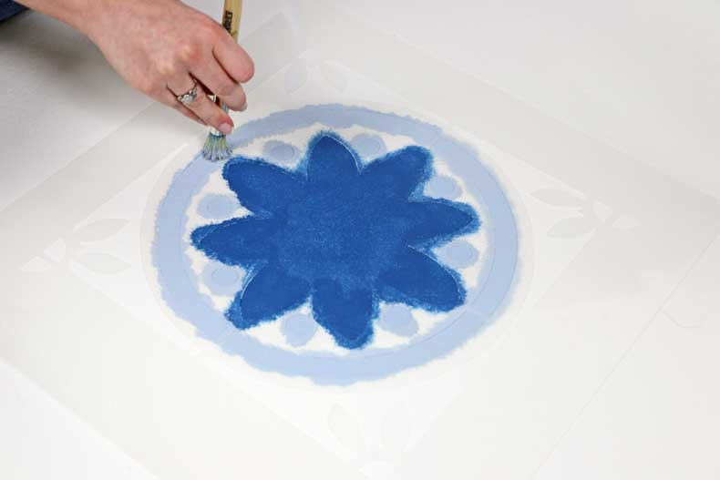 simple stenciled tile floor stencil blue
