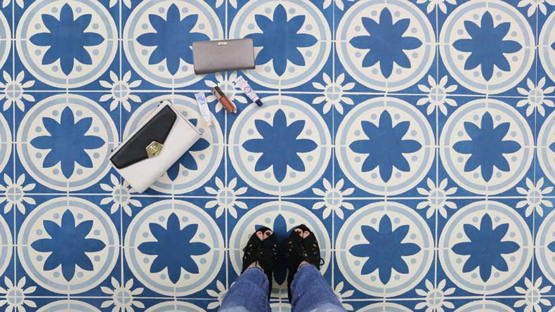 simple stenciled tile floor final
