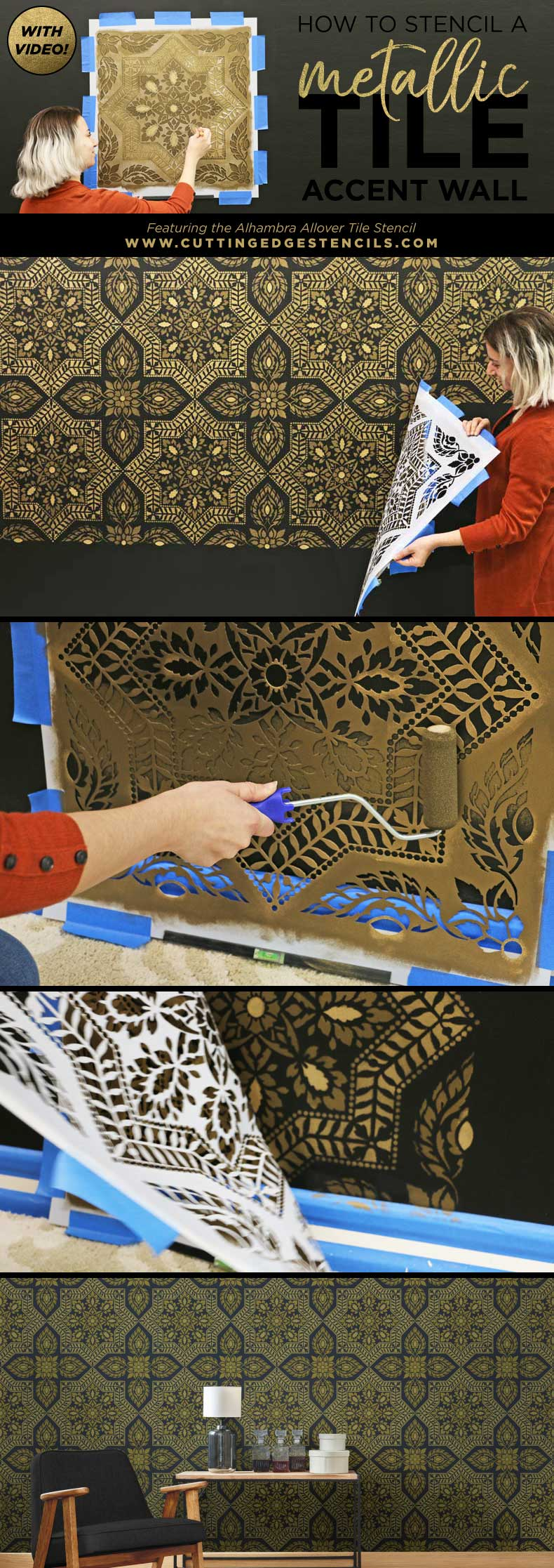 Stenciled Alhambra tile stencil on a feature wall