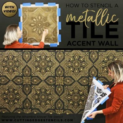 How To Stencil a Metallic Tile Accent Wall