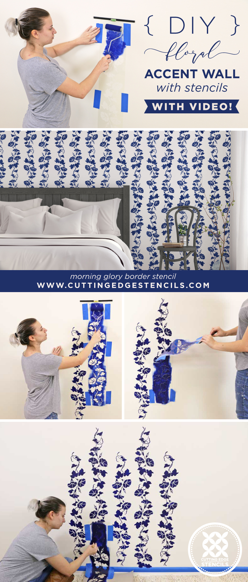 stenciled floral accent wall collage