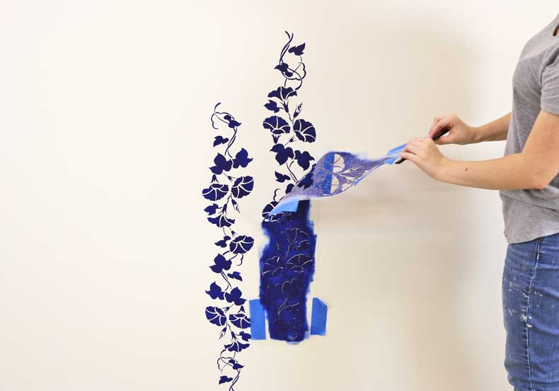 stencil floral feature wall peel vines