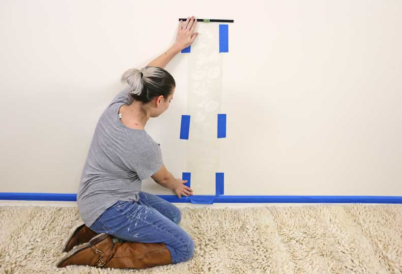 stencil floral feature wall place baseboard