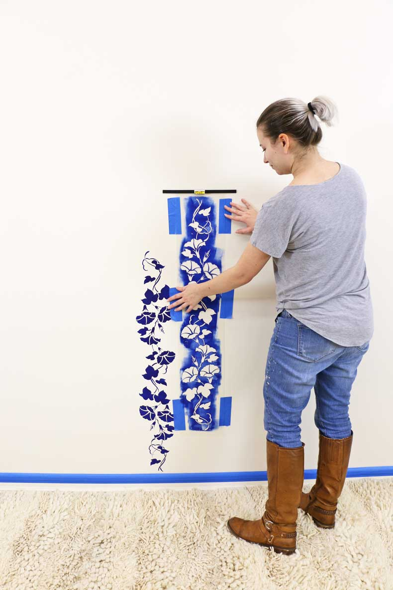 stencil floral feature wall align parallel