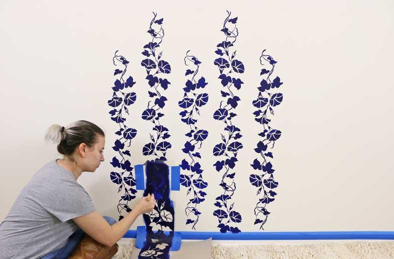 stencil floral feature wall stencil near baseboard