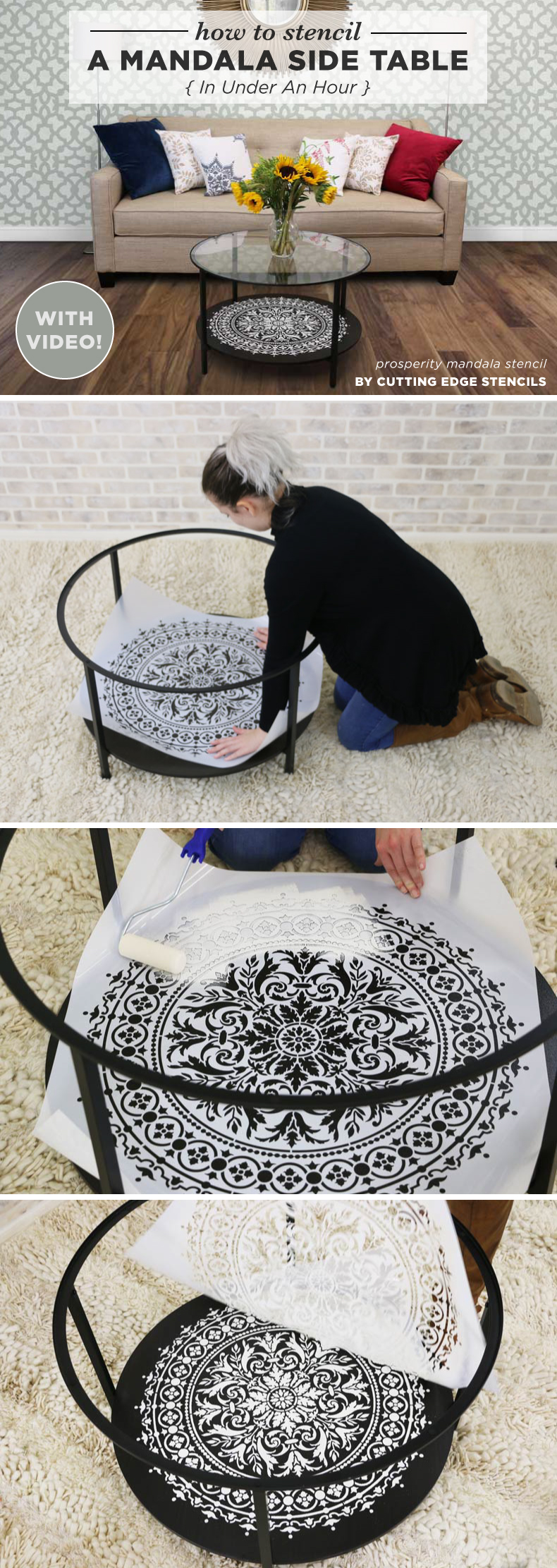 stenciled mandala table tutorial