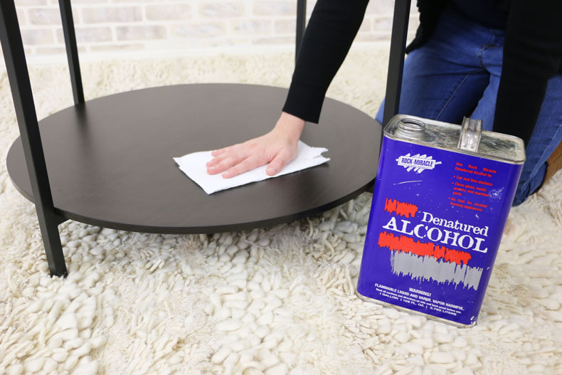 wipe table with alcohol