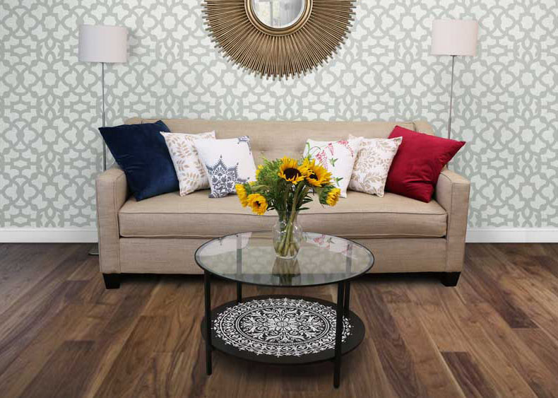 stenciled mandala table in living room