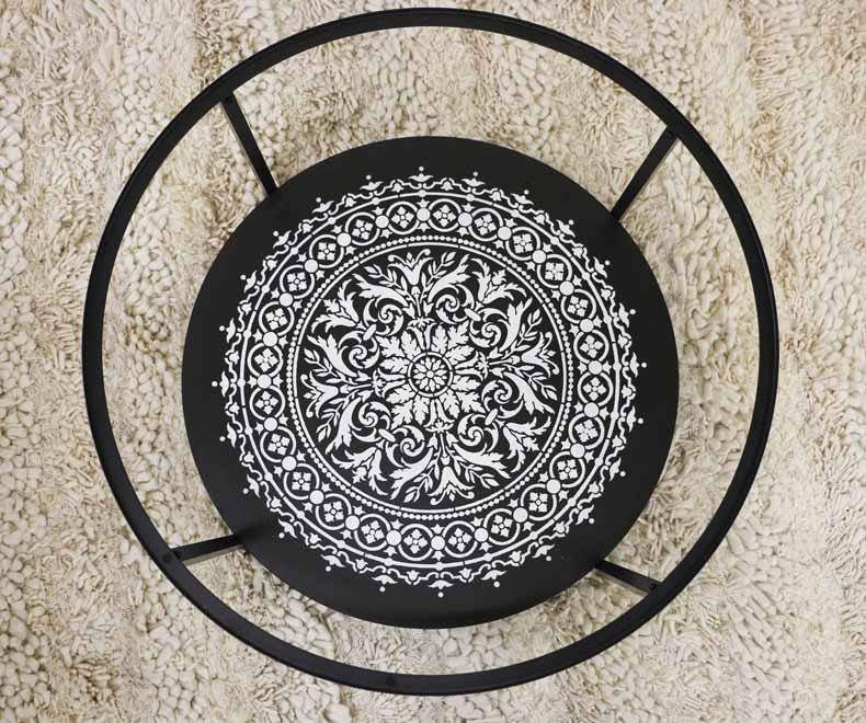 stenciled mandala table bottom
