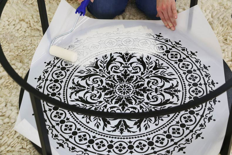 stencil mandala with paint