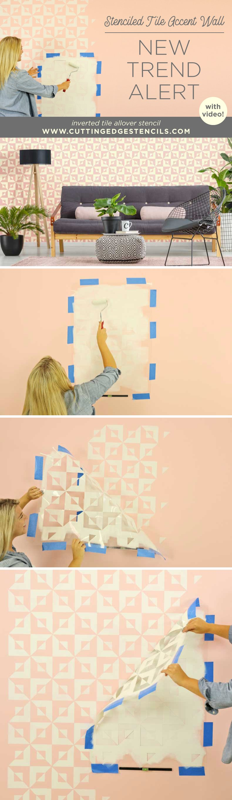 stenciled tile accent wall DIY