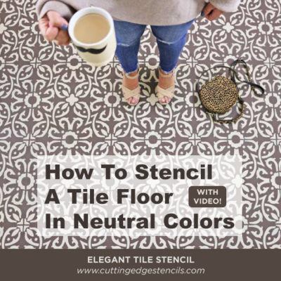 How To Stencil a Tile Floor in Neutral Colors