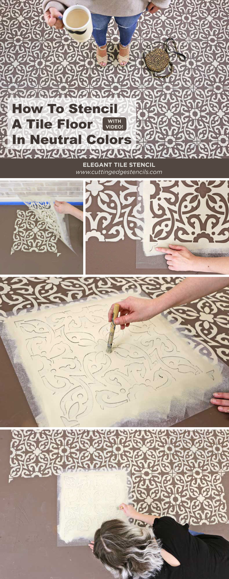 stenciling brown tile floor