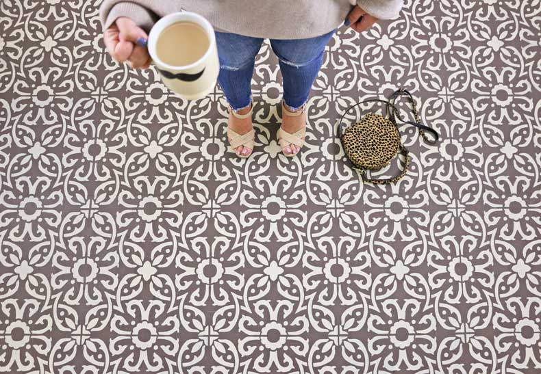stenciled beige tile floor
