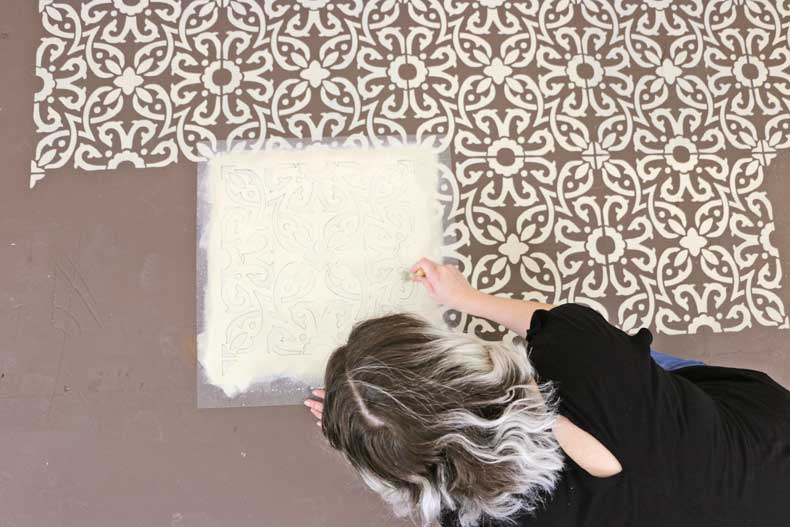 stenciling tile with paint