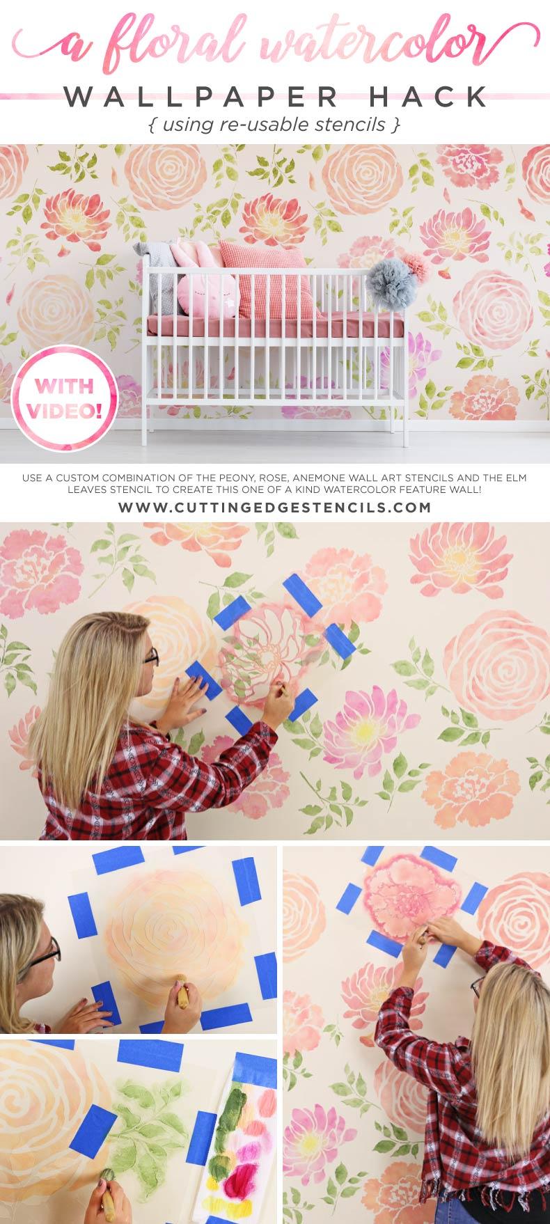 Nursery room design using flower stencils