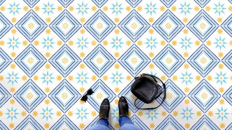 Tile stencil pattern painted on floor
