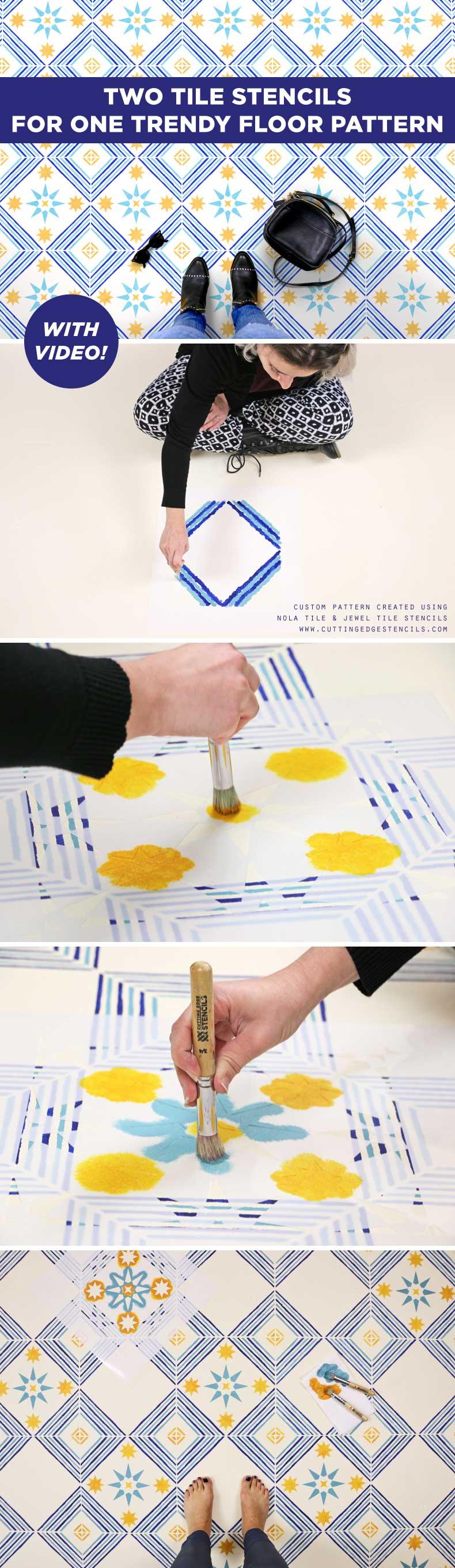Tile Stencil Pattern for Trendy Floor