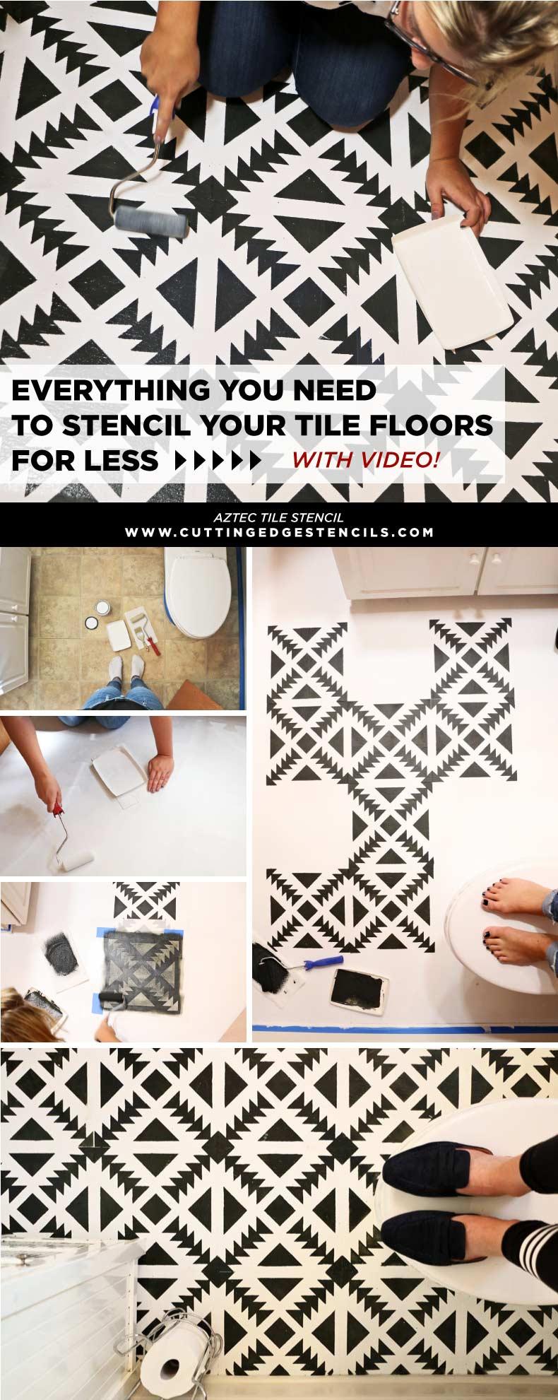 Aztec Tile Floor bathroom makeover
