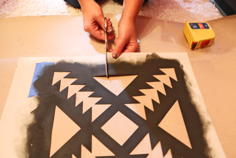 Cutting the tile stencil to fit spaces