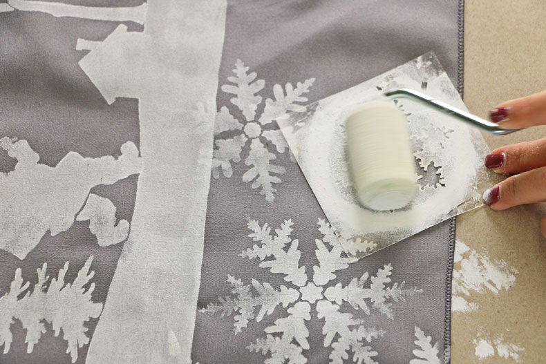 Fabric Stenciling with Christmas craft stencils