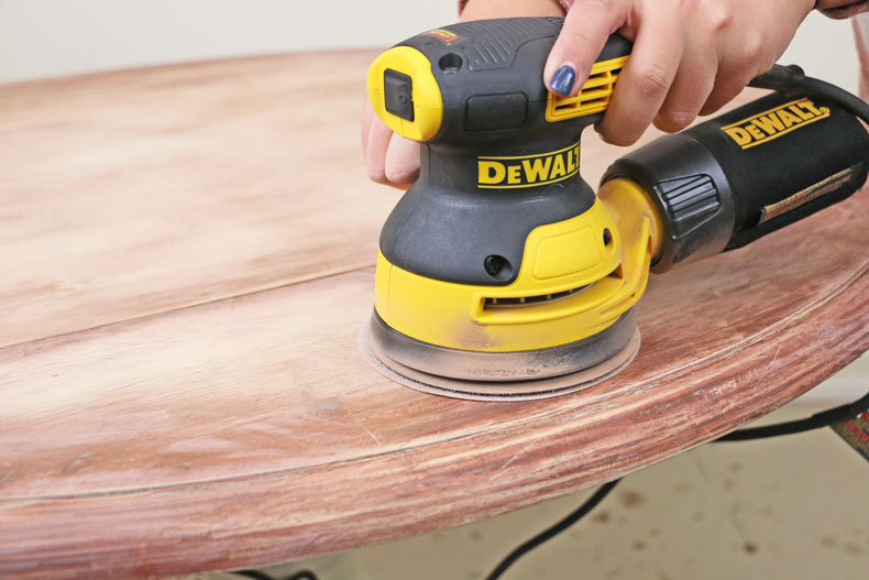 sanding down table top