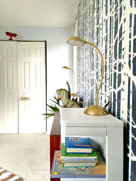 stenciled accent wall