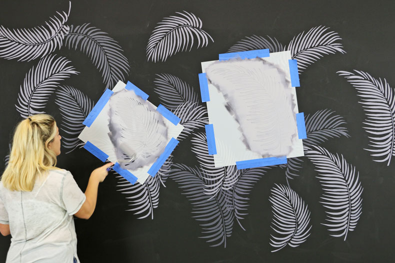 Painted stenciled tropical accent wall ideas on a budget