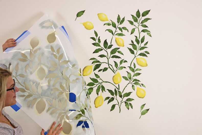 How To Create A Budget Friendly Lemon Wallpaper Look With Stencils