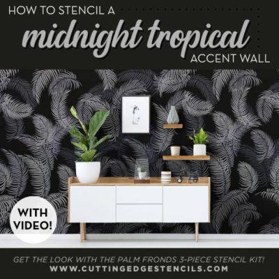 A Midnight Tropical Accent Wall using Palm Fronds Stencils