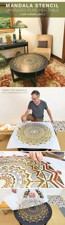 man stenciling ikea table