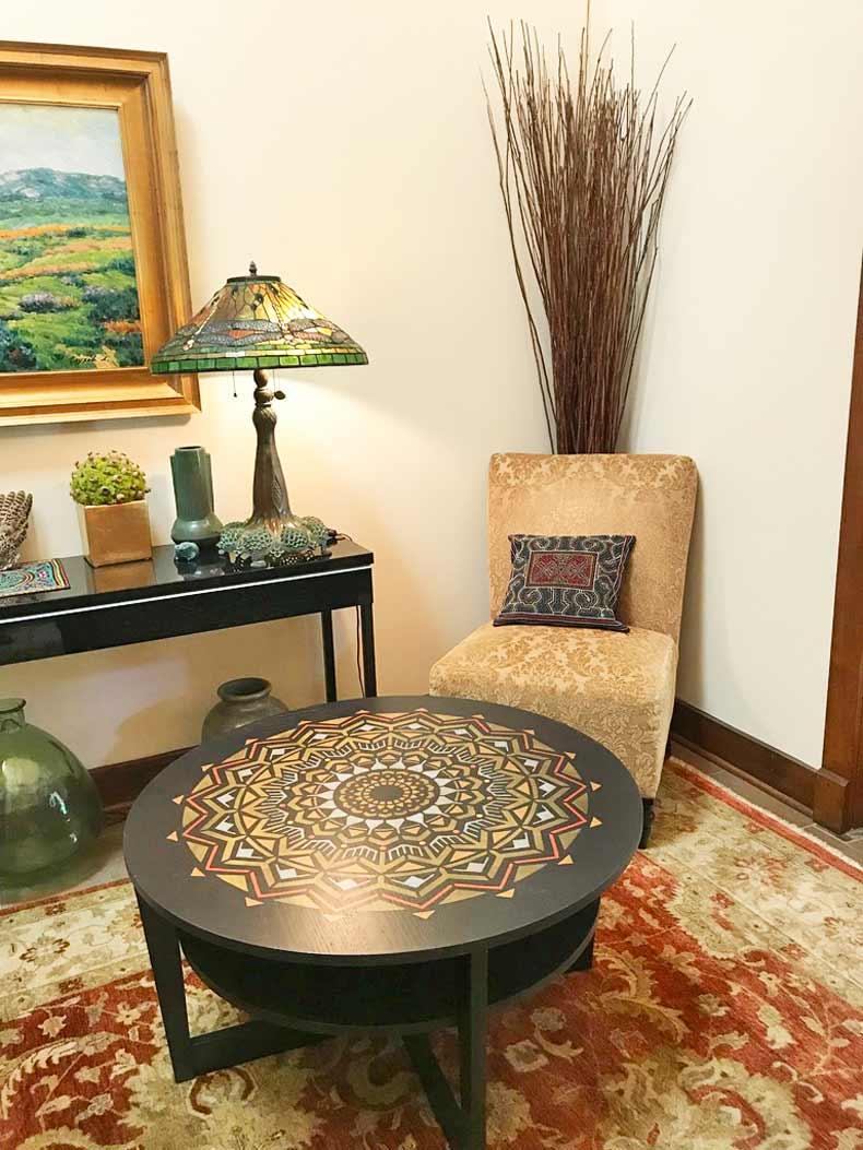 mandala table in room
