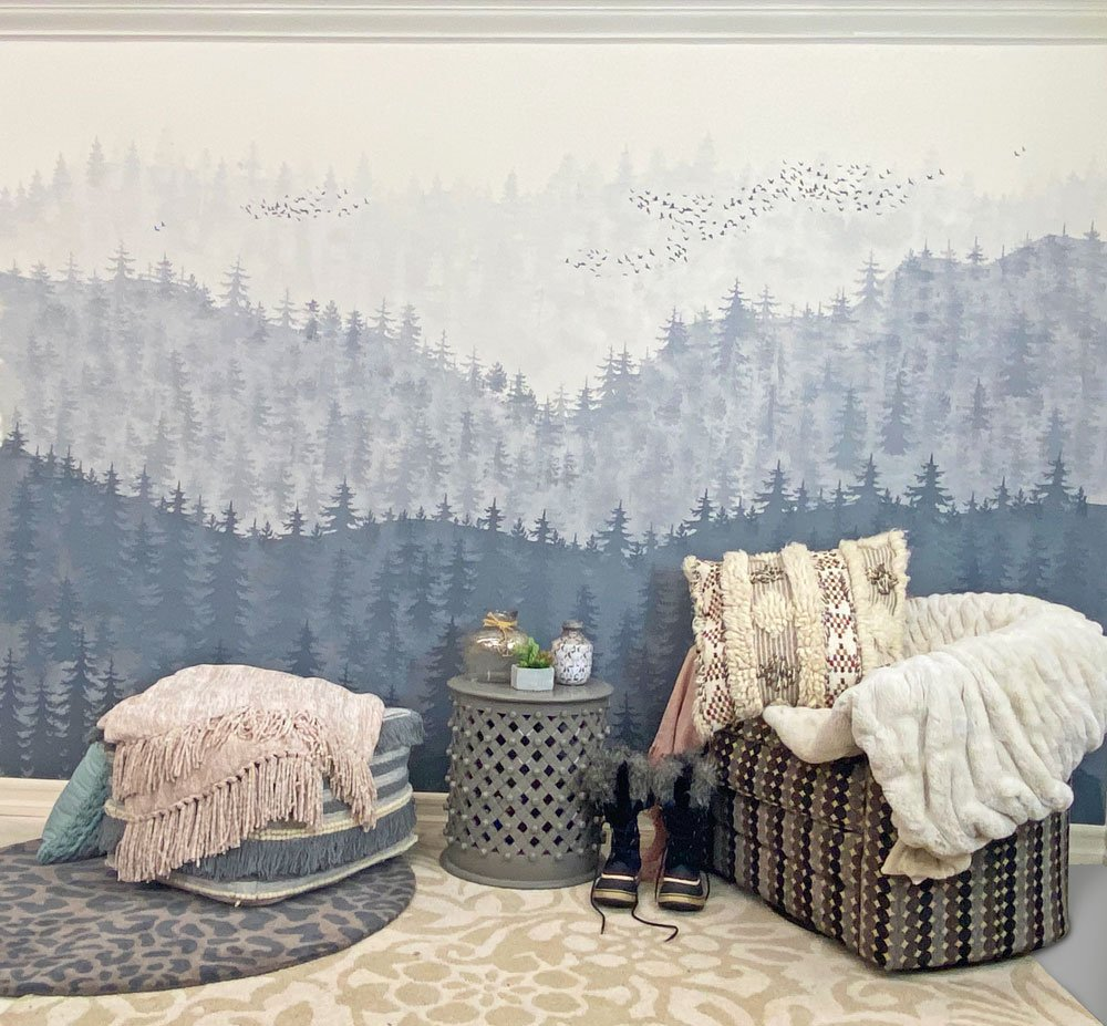 stenciled mountain mural lin bedroom