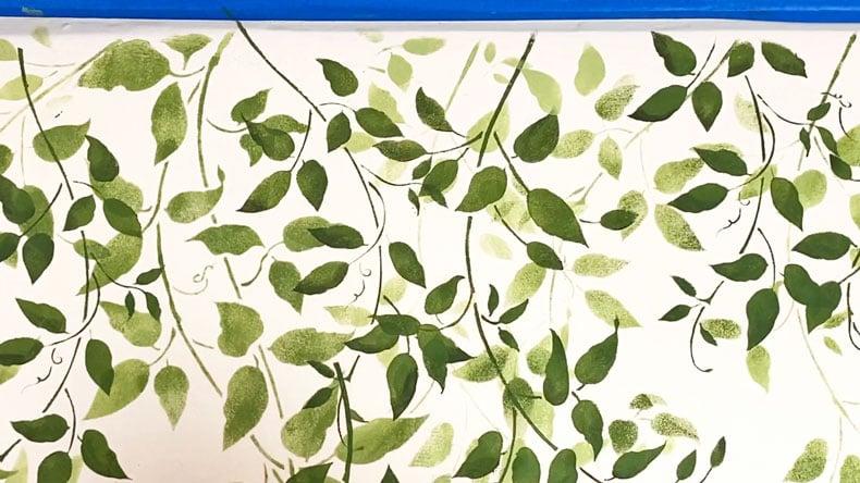vine wall stencil light green paint