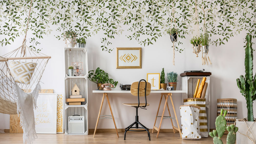 vine stencils in home office accent wall