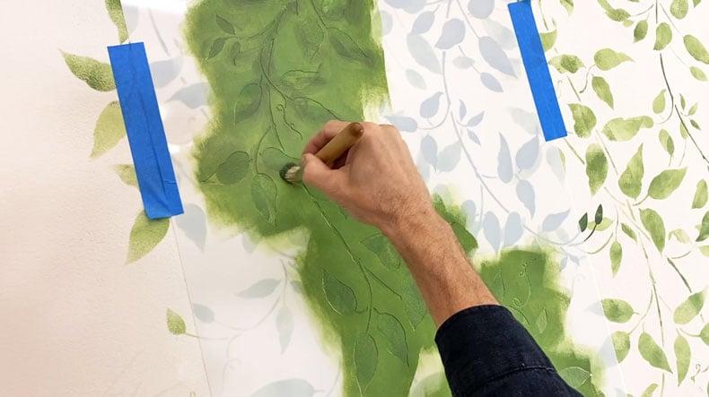 brush for stenciling over vine stencil