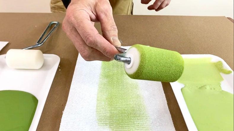 dense foam roller for stenciling green paint