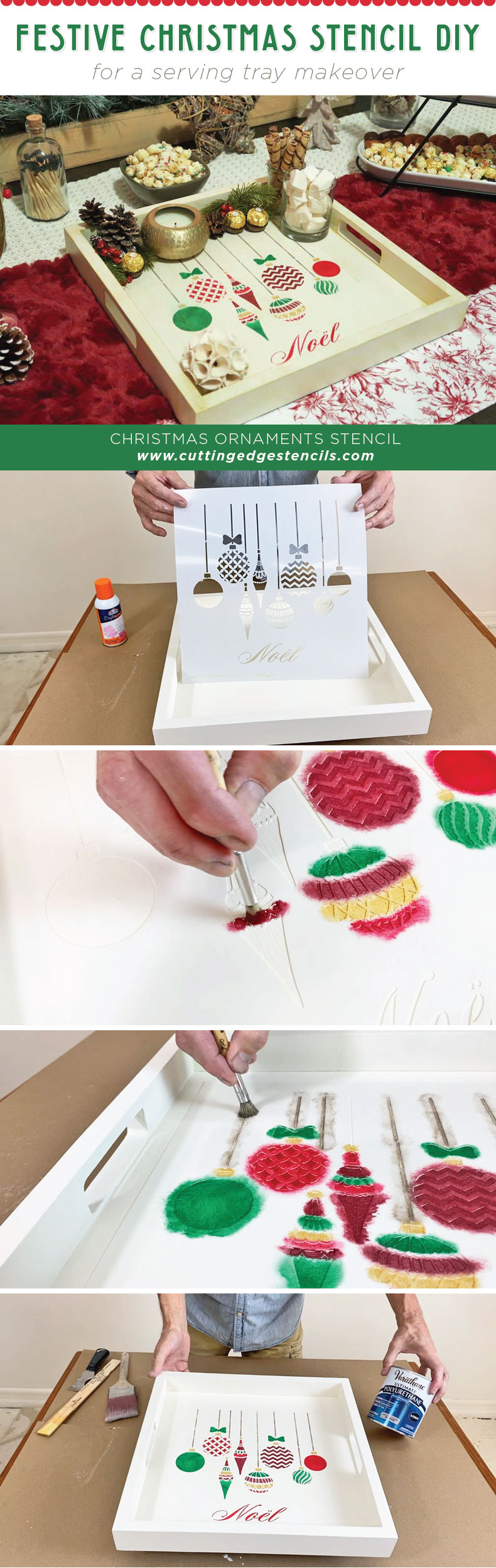 christmas stencil serving tray diy project