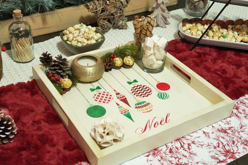 christmas ornament serving tray
