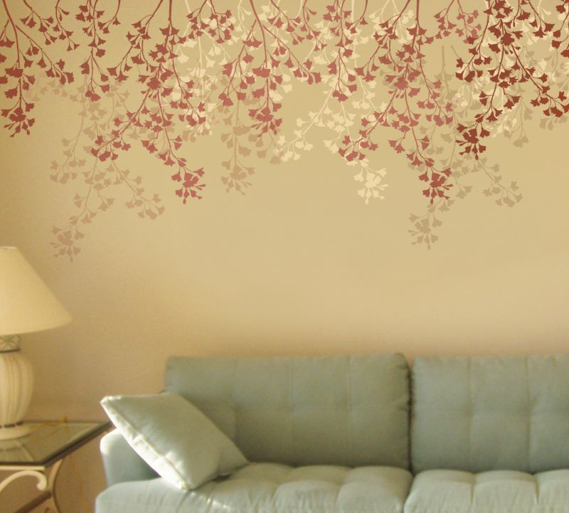 Reusable Stencil for Painting Walls and Floors Flower Stencil Designs Try Stencil Instead of Wallpaper and Save Lots on Room Makeover Floral Stencils for Walls Weeping Cherry Wall Stencil