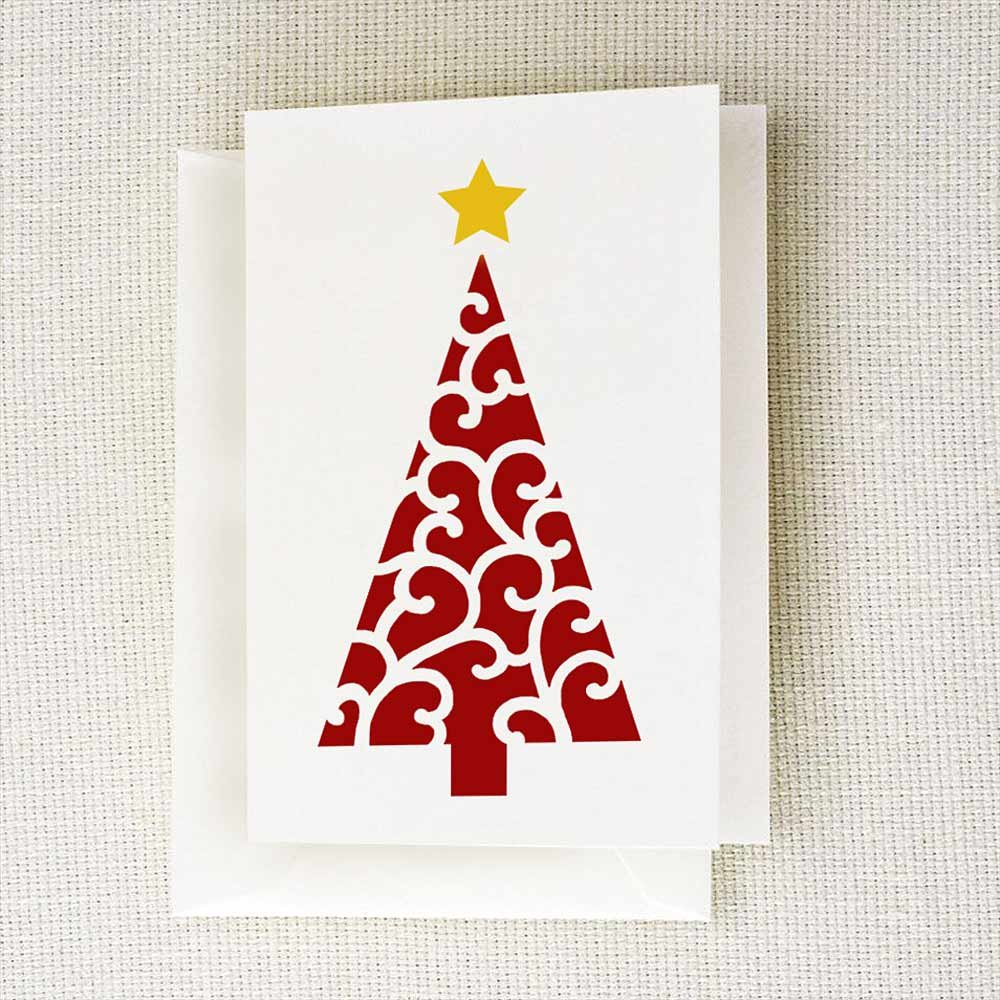 Scroll Christmas Tree Card Stencil Template Holiday Card Stencil Templates For Handmade Cards Scrapbooking And Art Journals By Cutting Edge Stencils