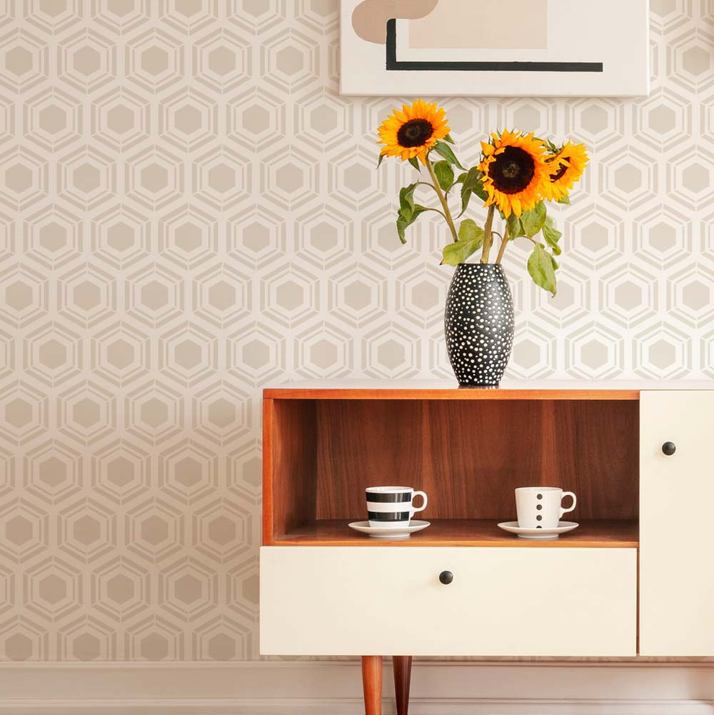Honeycomb Pattern Large REUSABLE Allover repeating stencil for walls Hexagon Tile Pattern STENCIL for Walls or Floors