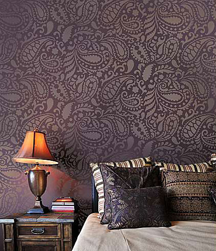 Paisley Allover Stencil Reusable Wall Furniture Fabric Glass Painting Template 10.5 Inch x 10.5 Inch