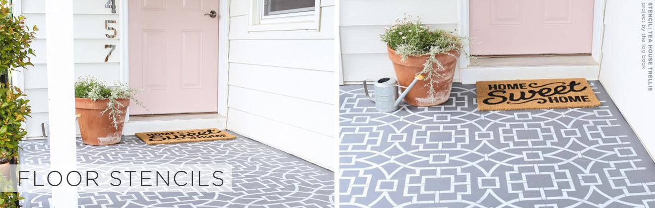 stenciled cement patio floor