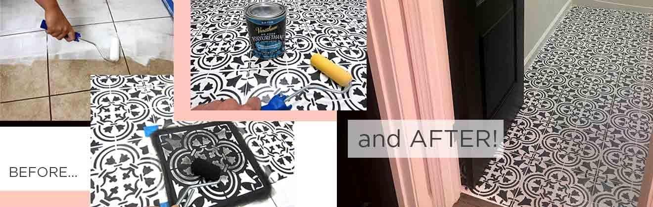 tile stencils diy floor tiles
