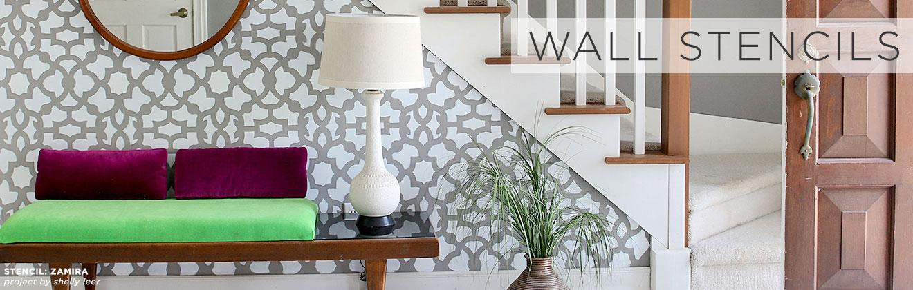 moroccan wall stencils gray and white wallpattern stencil